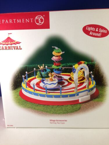 Dept 56 Carnival TWIRLING TEA CUPS 56.53803 Animated Brand New!  RARE!