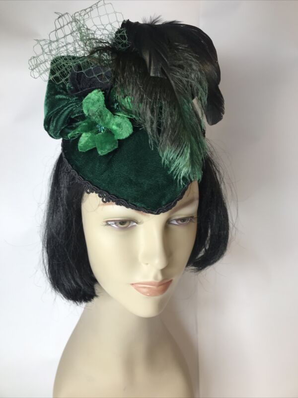 Cute Hunter Green Velvet Small Facinator Hat with Net, Feathers and Flowers