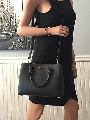 NWT Michael Kors Savannah Medium Satchel Black Saffiano Leather Bag $278