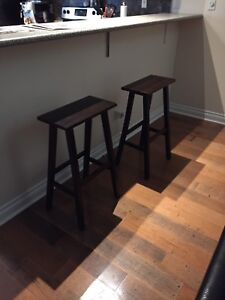 Brown Wooden Bar Stools