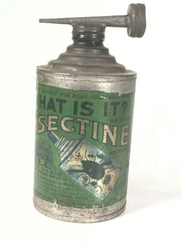 NEAT ANTIQUE TIN CAN BUG INSECT KILLER GREAT GRAPHICS !!!