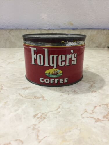 VTG 1950's FOLGERS COFFEE CAN WITH KEY ON BOTTOM 1 LB POUND NAUTICAL W/ LID
