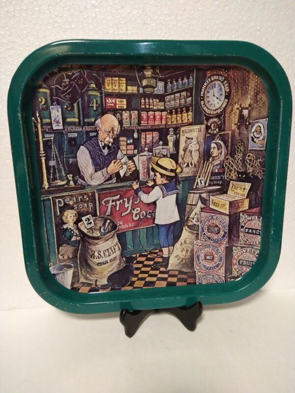 """Vintage British Ware Metal Tray Store Scene Made in Great Britain 13.5"""" Square"""