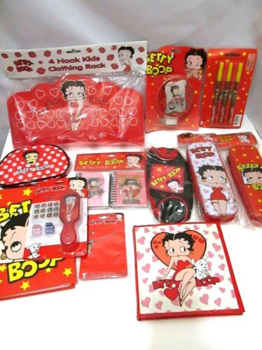NOS BETTY BOOP COLLECTOR LOT PENS CASES NOTEBOOKS NIGHT LIGHT NECKLACE 2005