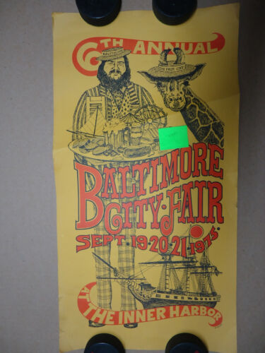 6th Annual Baltimore City Fair 1975 at the Inner Harbor poster drawn by B Linley