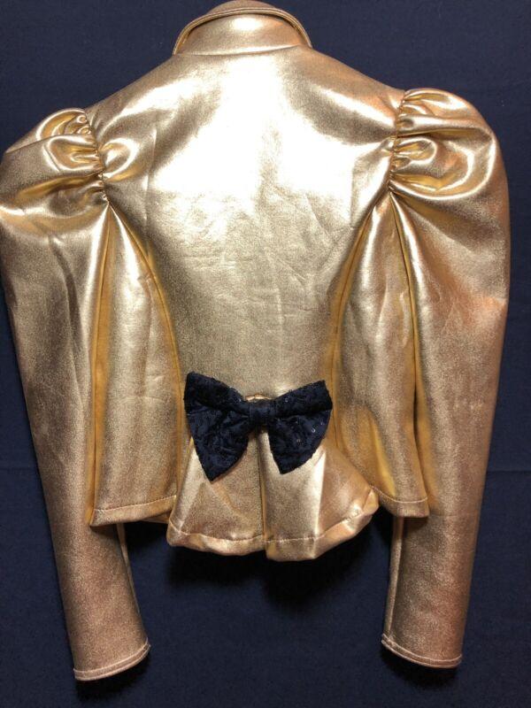 Weissman MC Metallic Gold Black Sequins BOW Jacket Dance Competition Costume