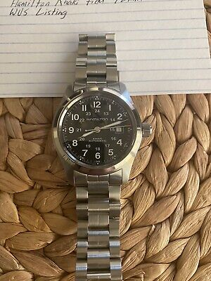 Hamilton Khaki Field Men's Black Watch with Silver Stainless Steel Band -...