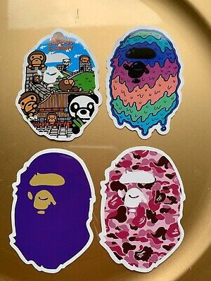 "A Bathing Ape Bape 3"" Vinyl STICKER Lot Skateboard Car Bumper Supreme Slime New"