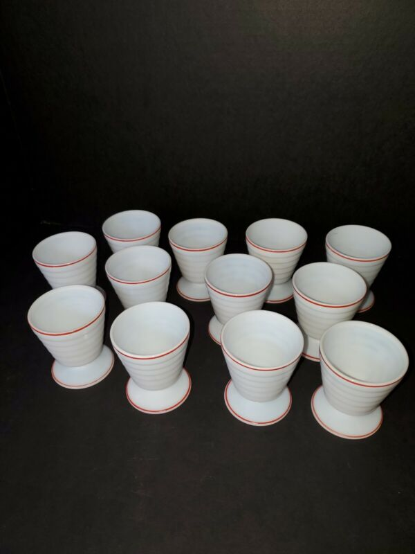 Vintage Hazel Atlas Moderntone Platonite White & Red Stripe Custard Desert Cups