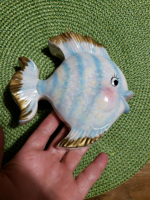 Vtg Kitschy FISH PLAQUE WALL POCKET BATH DECOR BRADLEY