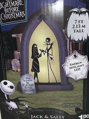NEW NIGHTMARE BEFORE Christmas Jack Sally 7' Arch LED Airblown Inflatable Gemmy