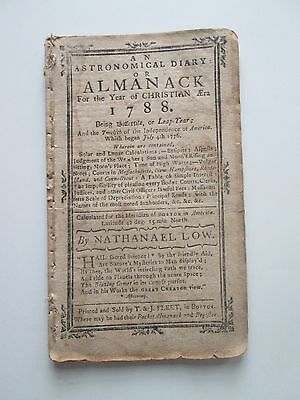 ORIGINAL 1788 ALMANACK(sic) by NATHANAEL(sic) LOW BOSTON