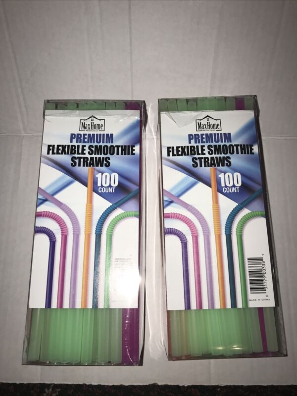 Premium Flexible Smoothie Straws Disposable Lot Of 2 X 100 Count