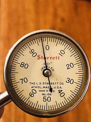 W H Reisner L.s. Starrett Back Plunge No.196b .001 Dial Test Indicator Vntg