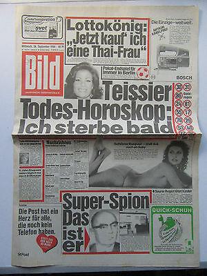 Bild Zeitung vom 26.9.1984, Raquel Welch, Udo Jürgens, Geburtstagsgeschenk