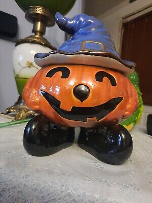 Pumpkin Witch W/pointed Hat And Black Curled Shoes Cookie Jar/Candy Dish