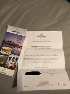 Selling white point resort gift certificate! *Worth 250*