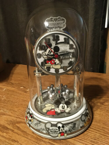 DISNEY MICKEY MOUSE VINTAGE ANNIVERSARY GLASS DOME CLOCK WITH BOX / WRONGWAY052