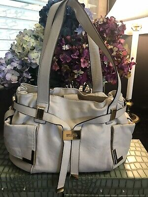 Michael Kors Beige Leather Hobo Handbag Purse Satchel With Gold Hardware