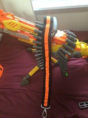 Nerf Vulcan - 25 Dart Gun - TWO Belts - Tripod - Machine Gun - All extras- WORKS