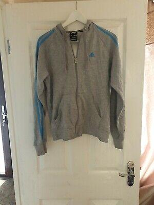Adidas grey light blue hoody uk size small