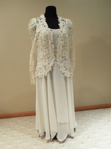 Ivory lace 2 piece wedding / party dress gown size 13/14 Cachet by Bari Protas