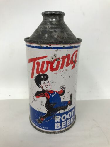 Rare Twang Root Beer Cone Top Can 12 Fluid Ounces