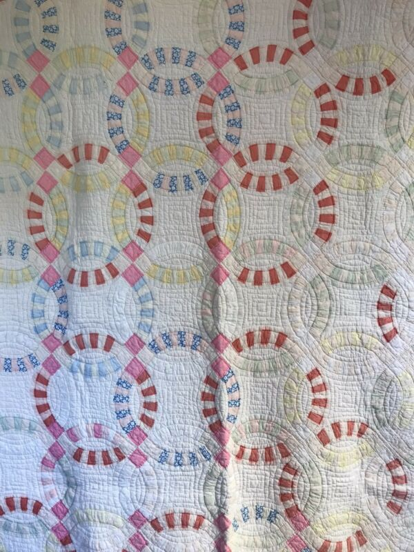 Vintage Antique Double Wedding Ring Quilt  78 x 68 Primitive Farmhouse