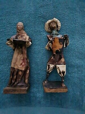 Pair Of Vintage Leather Wrapped Oriental Figures