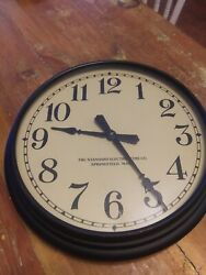 Vintage The Standard Electric Time Co black Metal  Large Wall Clock 14 1/4