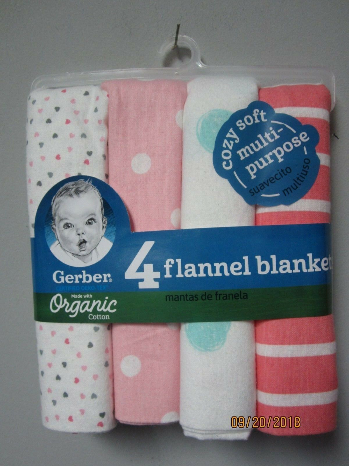 Gerber Baby Girl 4-Pack Organic Cotton Pink Hearts/Dots Flan