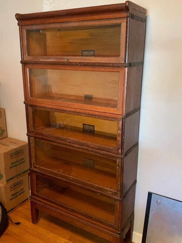Antique Barrister Lawyer Oak 5 Stack Bookcase, Original finish