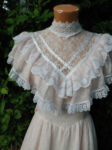Vintage pale Pink Bo Peep Gunne Sax Jessica McClintock 80s Full Skirt dress