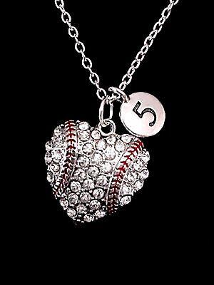 Necklace Number Baseball Softball Heart Mom Christmas Gift Sports Charm - Baseball Christmas