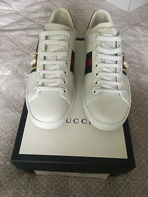 Ladies Gucci Ace studded leather sneakers/trainers Uk Size 4