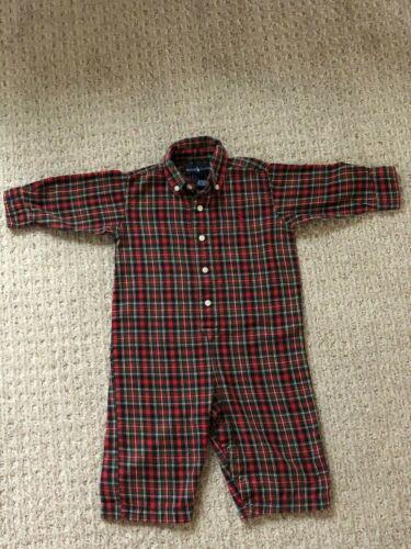 Infant Baby Boy Ralph Lauren Holiday Tartan Plaid Cotton Suit 12 Mo COZY & CUTE