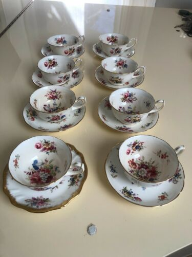 8 VINTAGE HAMMERSLEY BONE CHINA LADY PATRICIA TEA CUPS + SAUCERS