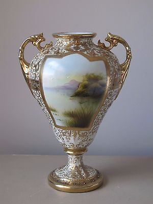 "Nippon Art Nouveau Jeweled & Gilded Porcelain Scenic Bolted Urn Vase 12.5"""
