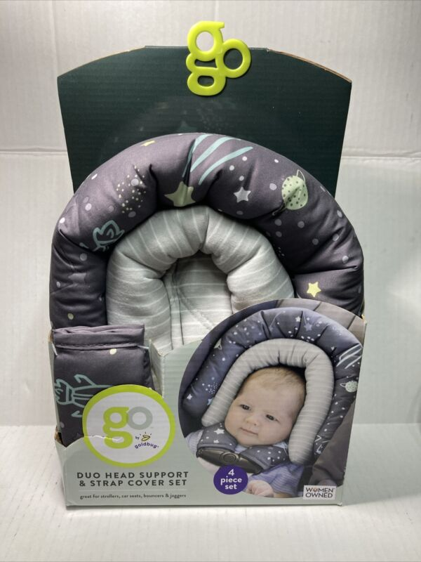 Goldbug Go Baby Head Support Space Duo Strap Cover Set - Gray (New-See Descripti