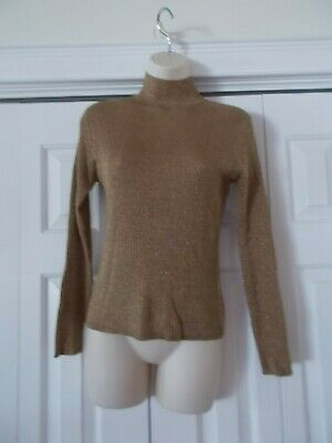 Gold Metallic Joseph A Silk Blend Mock Turtleneck Knit Top Long Sleeves (Silk Blend Mock Turtleneck)