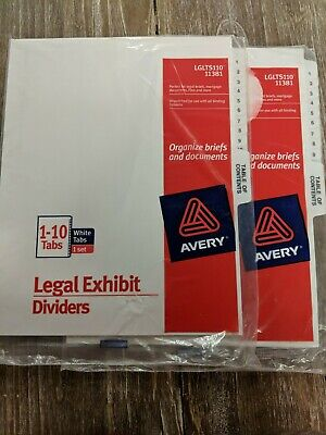 Avery Legal Exhibit Dividers 2 Packages Of One Set Of 11 Tabs