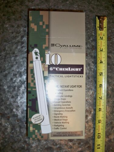 """Cyalume ChemLight Tactical Light sticks 8 Hours 6"""" White Box of 10 Mil Issued"""