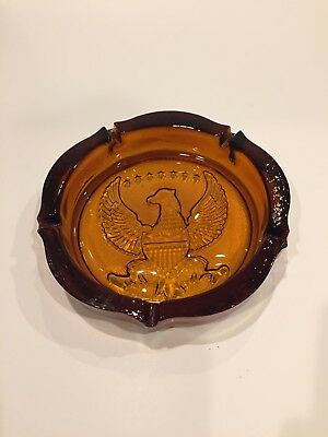 "Vtg 1970s amber patriotic eagle glass ashtray 10"" for sale  Marietta"