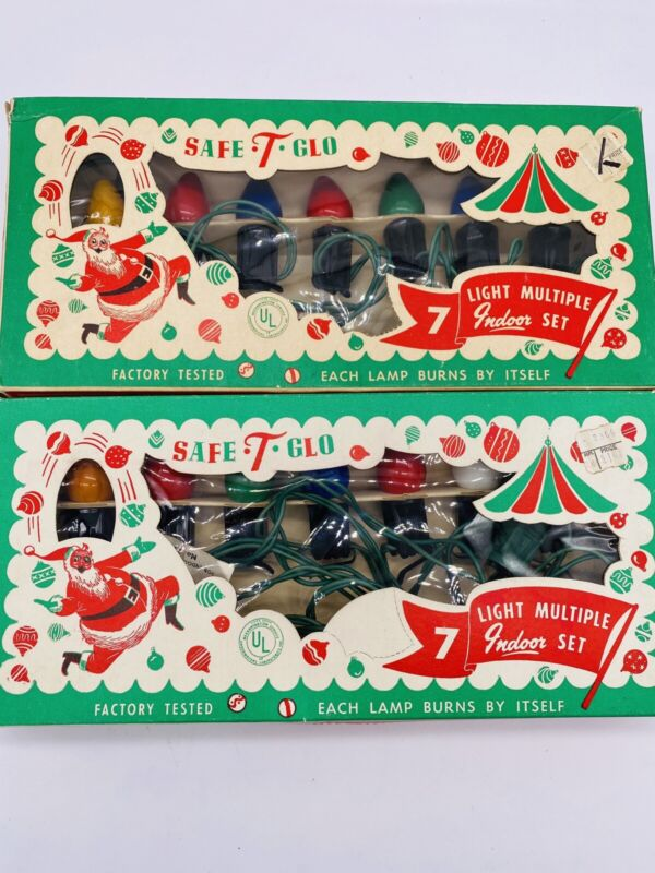 2 Boxes Vintage Safe-T-Glo Christmas Wired Multicolor String Lights  Indoor NOS