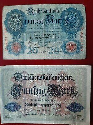 20 Mark Reichsbanknote 1910 50 Mark Darlehnskassenschein 1914  Schnäppchen!!
