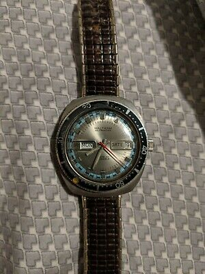 VINTAGE WALTHAM SWISS DIVERS WATCH AUTOMATIC EXCELLENT 17J DAY DATE