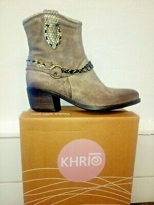 Brand New Khrio Distressed Stone leather Cowboy boots size 37 made in Italy