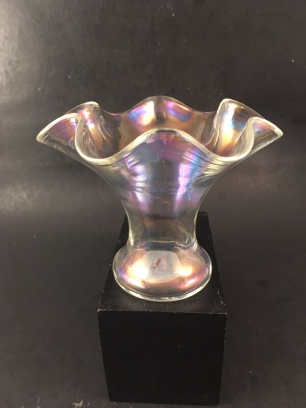 Hand Blown Sweet Pea Vase Carnival Glass Iridescent Flared & Ruffled w/ Pontil