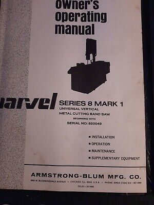 Marvel Series 8 Metal Cutting Band Saw Parts Catalog
