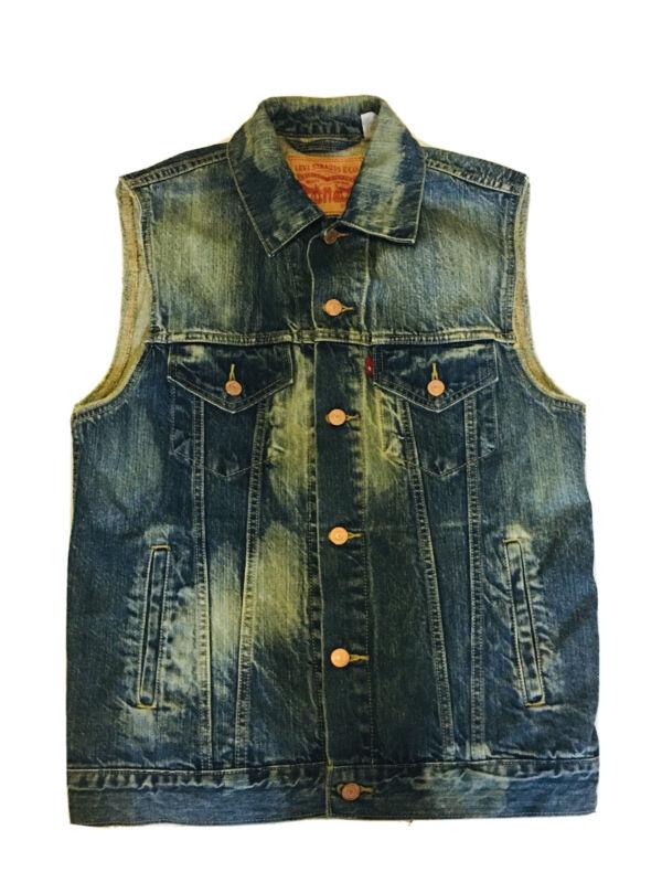 Levis Strauss Denim Jean Vest Jacket Blue Medium Sleeveless Sz M Unisex?